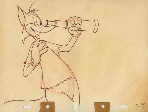 #CS5 - Screen Gems 'Fox And The Crow', Fox Drawing (1945)